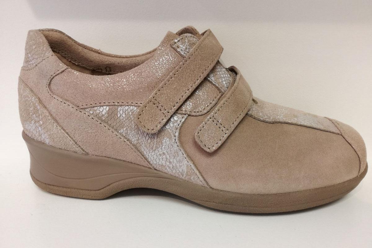 c50752a60c20 xsensible lucia beige croco velcro chaussure femme semelle amovible confort