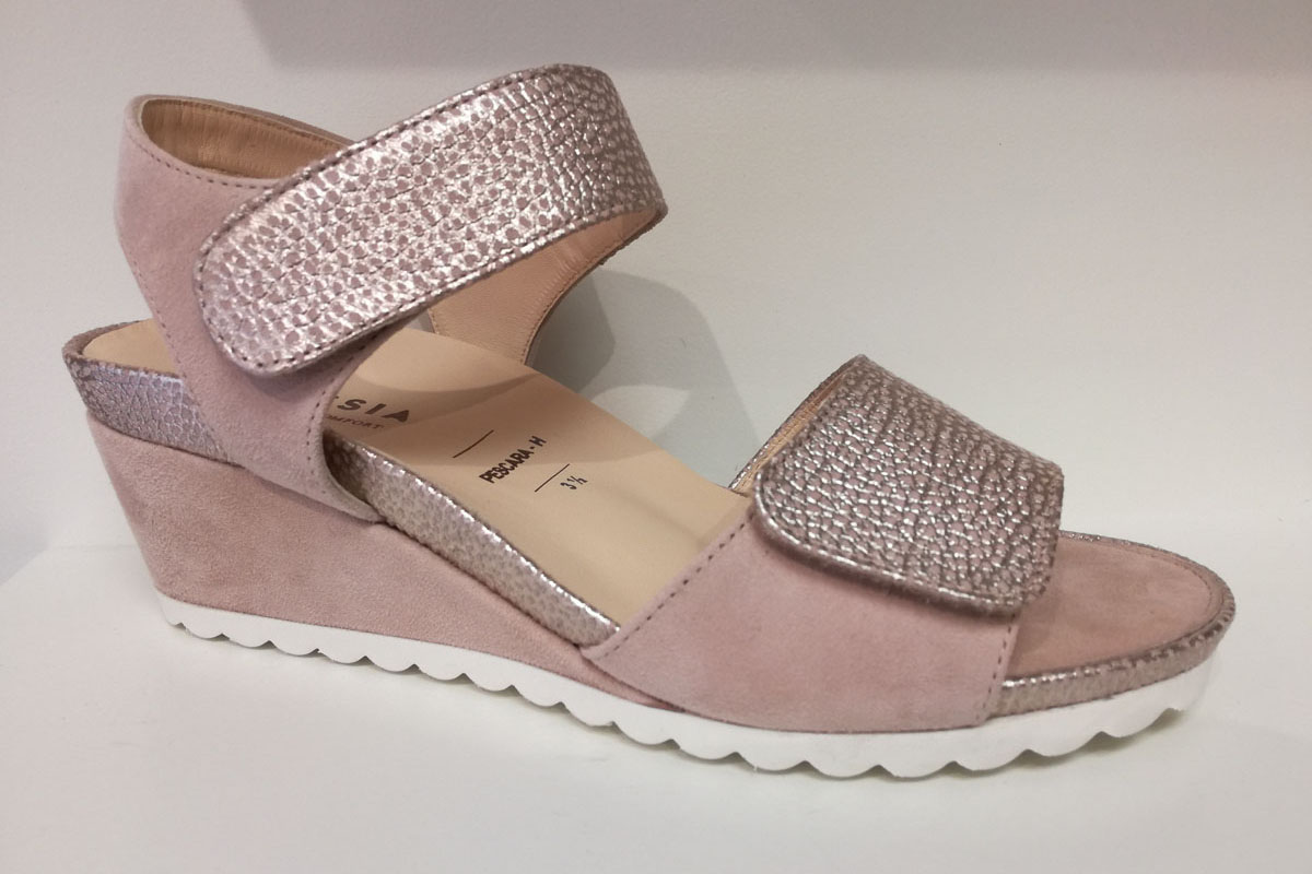 hassia sandale semelle amovible confort femme rose pastel  velcro sangle habillé ajustable large
